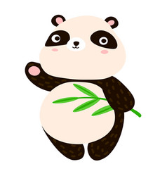 cute panda cartoon sweet panda waving his paw vector image