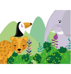cute wildlife animals cartoons vector image
