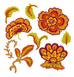 Decorative beautiful flowers and leaves vector