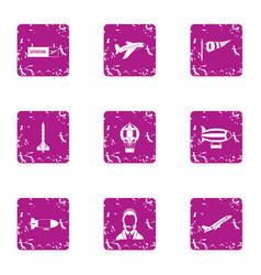 departure icons set grunge style vector image