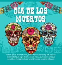 Dia de muertos mexican calavera skull ornament vector