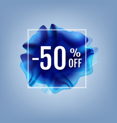 discount poster with blue flow vector image