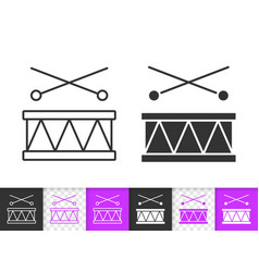 drum toy kids game simple black line icon vector image