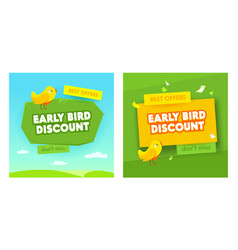 early bird sale banners set advertising discount vector image