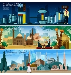 Eastern Cityscape 3 Flat Banners Set vector image