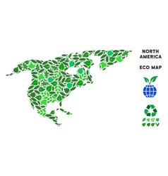 Eco green collage north america map vector