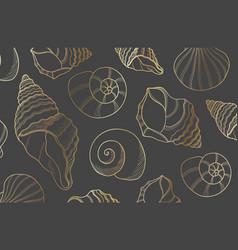 elegant golden line sea shells vector image