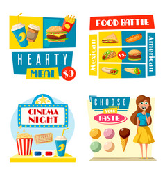 Fast food cinema bar bistro flat posters vector