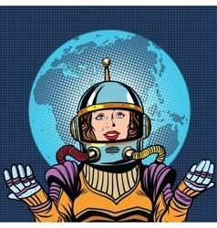 Female astronaut symbol of life on planet Earth vector image