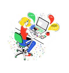 female social media network bloggers collaboration vector image