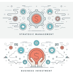 Flat line Business Investment and Management vector image