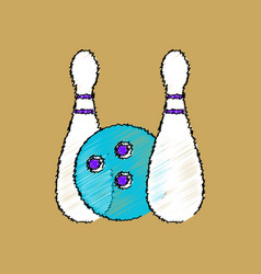 Flat shading style icon kids bowling vector