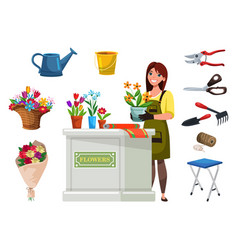 florist in apron with flowers and equipment set vector image