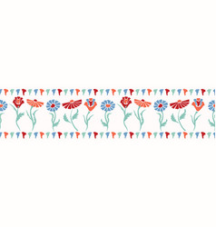 Flower border horizontal colorful blooms vector