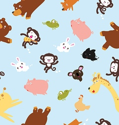 Funny animals pattern including seamless vector
