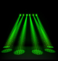 green spotlights on dark background vector image