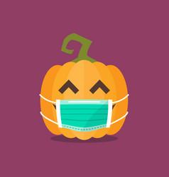 Halloween pumpkin wearing medical mask vector