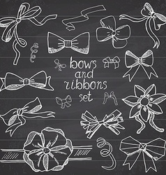 Hand drawn ribbons and bows set A collection of vector
