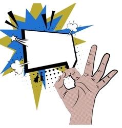 Hand sign comic pop art white round bubble vector image