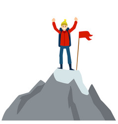 happy cartoon man standing on mountain top with vector image