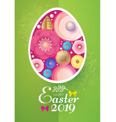 happy easter card template with egg desorated with vector image