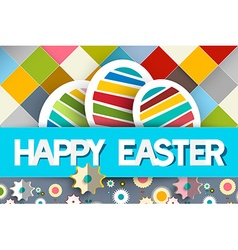Happy Easter Paper Eggs and Flowers on Diagonal vector image