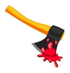 Happy halloween ax with blood vector