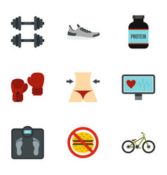 healthy lifestyle icons set flat style vector image