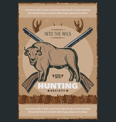 Hunter and hunt for bull poster design vector