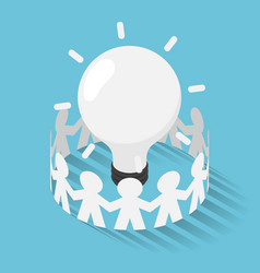 Isometric paper people surrounded lightbulb idea vector