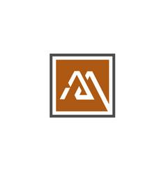 letter m square logo design vector image