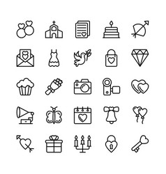 Love and valentine line icons 1 vector