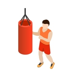 Man training on a punching bag icon isometric 3d vector