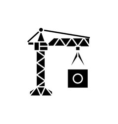 Manufacturing crane black icon sign on vector