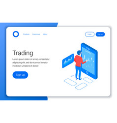 mobile stock trading concept vector image