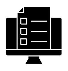 monitor with document solid icon list on computer vector image