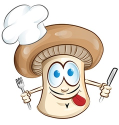 mushroom chef cartoon vector image