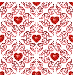 Ornate Seamless Pattern with Ruby Hearts vector image