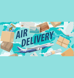 parcels letters air mail avia delivery service vector image