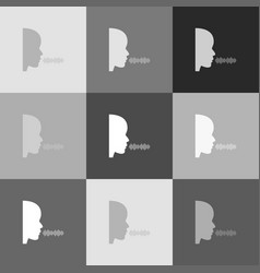 People speaking or singing sign grayscale vector