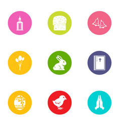 public library icons set flat style vector image