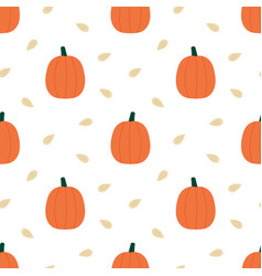 Pumpkins and seeds seamless pattern background vector