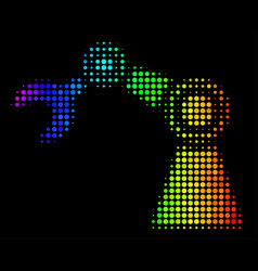 rainbow colored dot industrial robot icon vector image