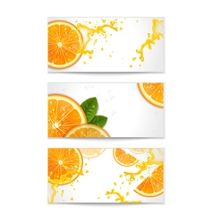 Set of banners with oranges vector
