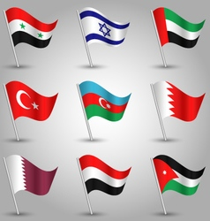 Set of flags countries of western asia vector