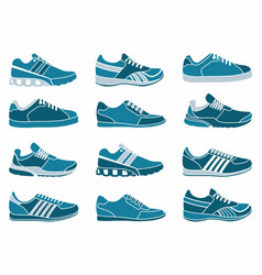 set of icons of sports shoes vector image