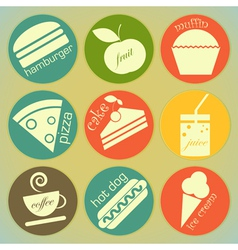 set of Vintage Food round Labels vector image