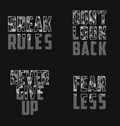 set slogans with camouflage texture for t vector image