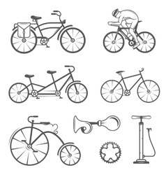Set Vintage Sign and Silhouette Bicycle and vector image