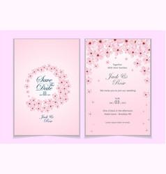 Set watercolor cherry blossom wedding vector